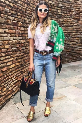 How to wear: green floral bomber jacket, white and red horizontal striped crew-neck t-shirt, light blue boyfriend jeans, gold leather mules
