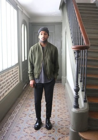 How to Wear a Bomber Jacket For Men: For a casual look, try pairing a bomber jacket with black chinos — these two items work really well together. A trendy pair of black leather derby shoes is the simplest way to breathe a hint of sophistication into your look.