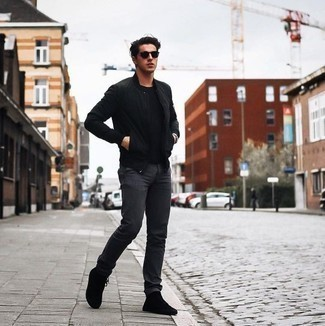 Black Sunglasses Outfits For Men: This look with a black bomber jacket and black sunglasses isn't hard to score and is easy to adapt according to circumstances. Finishing off with a pair of black canvas high top sneakers is a fail-safe way to bring some extra depth to this ensemble.