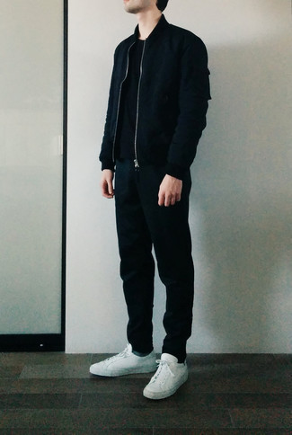 Grey Socks Outfits For Men: Dress in a black bomber jacket and grey socks to create an interesting and contemporary ensemble. Our favorite of an infinite number of ways to complement this look is with white canvas low top sneakers.