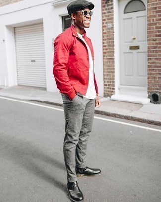 Red Bomber Jacket Outfits For Men: A red bomber jacket and grey chinos are the ideal way to introduce effortless cool into your casual wardrobe. A good pair of black leather chelsea boots is a simple way to bring an extra touch of sophistication to your outfit.