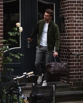 Charcoal Chinos Outfits: Teaming a dark green suede bomber jacket and charcoal chinos will prove your prowess in menswear styling even on lazy days. For a more laid-back spin, introduce a pair of white canvas low top sneakers to the mix.