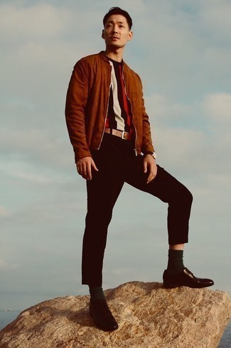 Brown Suede Bomber Jacket Outfits For Men: For a casually dapper outfit, rock a brown suede bomber jacket with black chinos — these two pieces work perfectly together. Channel your inner Ryan Gosling and elevate your look with a pair of dark brown leather derby shoes.