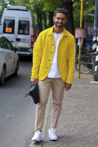 6410f6c913b5 How to Wear a Yellow Bomber Jacket For Men (12 looks   outfits ...