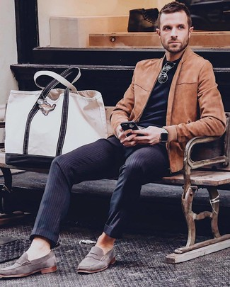 How to wear: tobacco suede bomber jacket, black crew-neck t-shirt, navy vertical striped dress pants, grey suede loafers