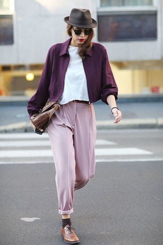 How to Wear Brown Leather Brogues For Women: For a look that's very straightforward but can be styled in a multitude of different ways, consider teaming a purple bomber jacket with pink dress pants. Finishing off with a pair of brown leather brogues is an easy way to add some extra oomph to this ensemble.