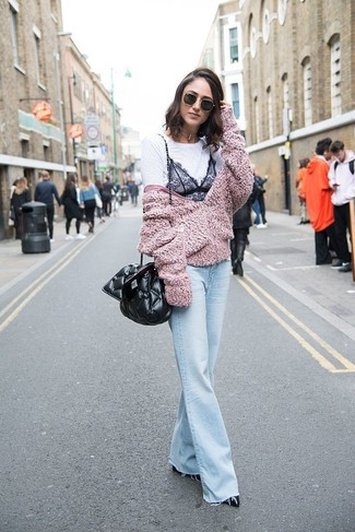 How to wear: pink fleece bomber jacket, white and black lace crew-neck t-shirt, light blue flare jeans, black leather pumps