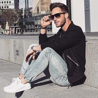 Men's Black Bomber Jacket, Black Crew-neck T-shirt, Grey Jeans, White Plimsolls