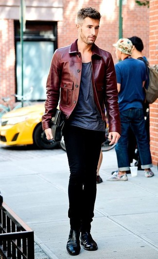 How to wear: burgundy leather bomber jacket, charcoal crew-neck t-shirt, black jeans, black leather chelsea boots
