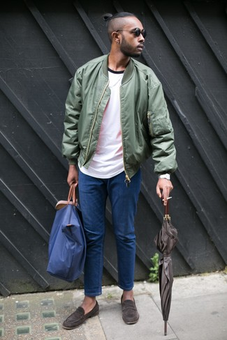 How to wear: olive bomber jacket, white crew-neck t-shirt, blue jeans, dark brown suede loafers