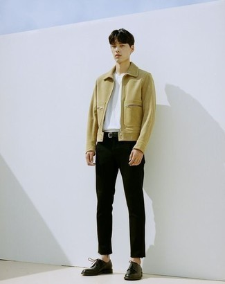 Which Crew-neck T-shirt To Wear With a Yellow Bomber Jacket For Men: Marrying a yellow bomber jacket with a crew-neck t-shirt is a wonderful choice for a casual but on-trend ensemble. Add a different twist to an otherwise standard ensemble by slipping into black leather derby shoes.