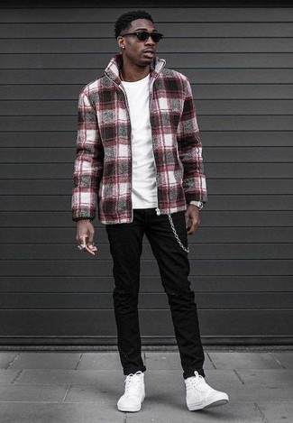 How to Wear White Canvas High Top Sneakers For Men: Wear a burgundy plaid wool bomber jacket with black ripped jeans for a stylish and bold casual outfit. A pair of white canvas high top sneakers is a nice idea to finish your look.