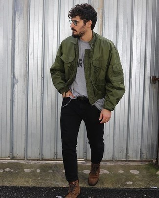 Men's Olive Bomber Jacket, Grey Print Crew-neck T-shirt, Black Jeans, Brown Suede Casual Boots