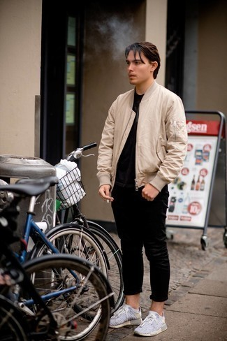 White No Show Socks Outfits For Men: Try pairing a beige bomber jacket with white no show socks, if you appreciate relaxed dressing without looking like a hobo to look dapper. Add a pair of grey athletic shoes to the mix and the whole getup will come together perfectly.