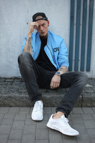 Charcoal Jeans Outfits For Men: This relaxed combination of a light blue bomber jacket and charcoal jeans is perfect when you want to feel confident in your getup. If you wish to instantly dress down your outfit with shoes, why not complete this ensemble with a pair of white athletic shoes?