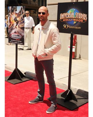 Bomber jacket crew neck t shirt jeans slip on sneakers sunglasses large 12194