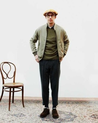 Tan Flat Cap Outfits For Men: This laid-back pairing of an olive bomber jacket and a tan flat cap is perfect when you need to look stylish in a flash. Rounding off with dark brown suede derby shoes is the simplest way to add a little classiness to your look.
