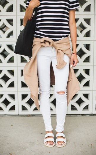 How to wear: tan bomber jacket, black and white horizontal striped crew-neck t-shirt, white ripped skinny jeans, white leather flat sandals
