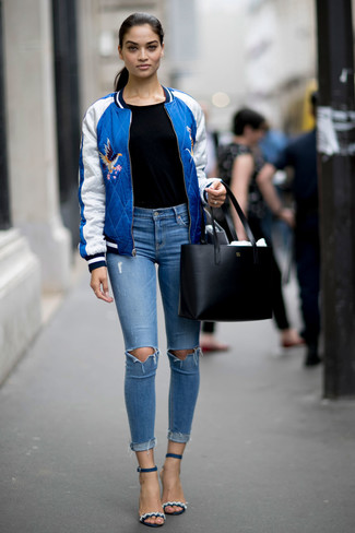 Dress in a blue bomber jacket and light blue ripped skinny jeans to be both casual and cool. Grab a pair of Dune London women's Ivanna Lace Up Block Heel Sandal to va-va-voom your outfit. Keep this combo ready to go when warmer days are here, and we promise you'll save time planning what to wear on more than one morning.