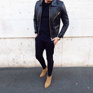 How to wear: black leather bomber jacket, black crew-neck t-shirt, black skinny jeans, tan suede chelsea boots