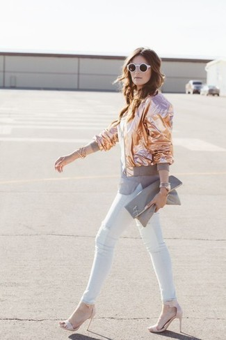 How to wear: gold bomber jacket, grey crew-neck t-shirt, white skinny jeans, pink leather heeled sandals