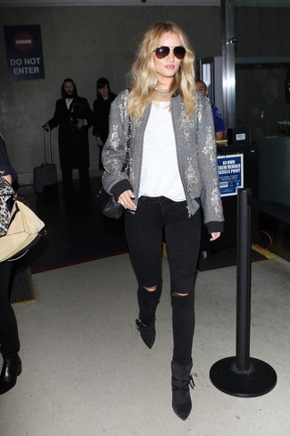 How to wear: grey embroidered bomber jacket, white crew-neck t-shirt, black ripped skinny jeans, black suede ankle boots