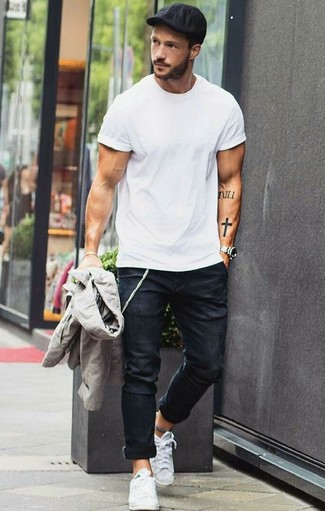 How to wear: grey bomber jacket, white crew-neck t-shirt, black skinny jeans, white canvas low top sneakers