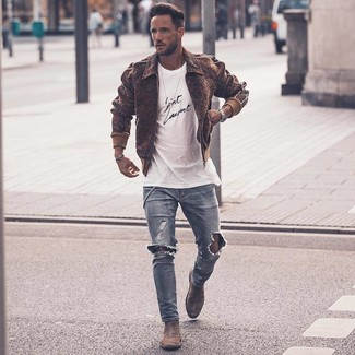 How to wear: brown wool bomber jacket, white and black print crew-neck t-shirt, light blue ripped skinny jeans, grey suede chelsea boots