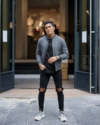 Black Beaded Bracelet Outfits For Men: Remain dapper and comfortable on busy days in a grey bomber jacket and a black beaded bracelet. Look at how well this ensemble pairs with a pair of grey athletic shoes.