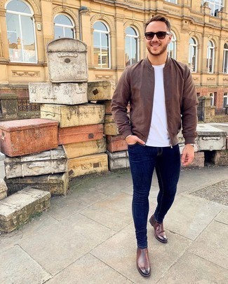 Bomber Jacket with Skinny Jeans Outfits For Men: A bomber jacket and skinny jeans are wonderful menswear essentials that will integrate brilliantly within your current fashion mix. A pair of brown leather chelsea boots will give a different twist to this look.