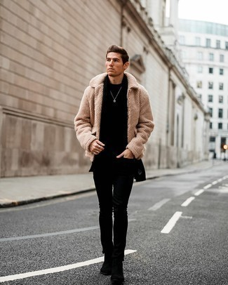 Bomber Jacket with Skinny Jeans Outfits For Men: To don an off-duty ensemble with a modern spin, try teaming a bomber jacket with skinny jeans. Finishing with a pair of black suede chelsea boots is a surefire way to bring some extra fanciness to this look.