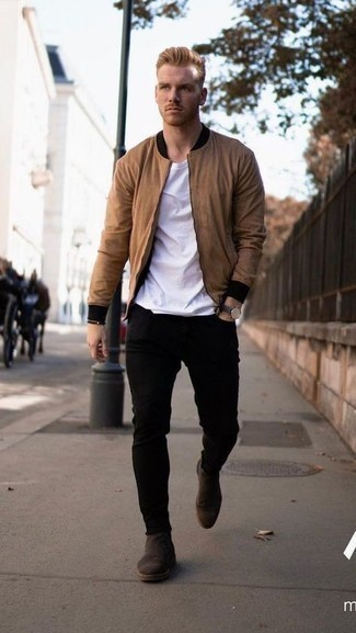 Bomber Jacket with Skinny Jeans Outfits For Men: This casual combo of a bomber jacket and skinny jeans is super easy to put together without a second thought, helping you look seriously stylish and prepared for anything without spending a ton of time digging through your wardrobe. A pair of dark brown suede chelsea boots effortlessly spruces up any look.