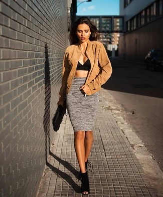 How to wear: tan bomber jacket, black cropped top, grey pencil skirt, black cutout suede ankle boots
