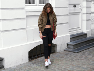 09d07c4ddf8 ... Women's Olive Bomber Jacket, Black Cropped Top, Black Ripped Skinny  Jeans, White Low