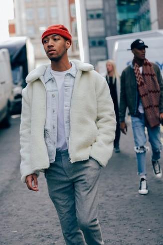 How to wear: white fleece bomber jacket, light blue denim jacket, white crew-neck t-shirt, grey wool dress pants