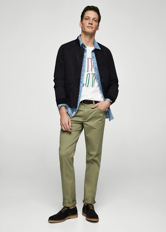 How to wear: black suede bomber jacket, light blue denim shirt, white print crew-neck t-shirt, olive chinos