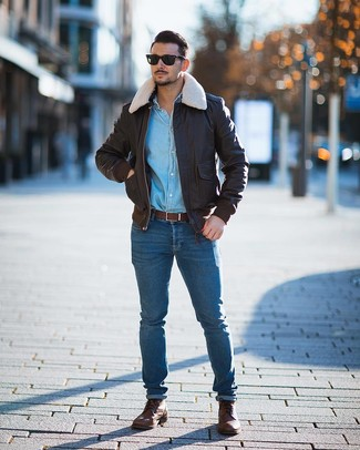 How To Wear a Denim Shirt With a Bomber Jacket In Spring For Men: Why not try pairing a bomber jacket with a denim shirt? As well as totally functional, both pieces look amazing when worn together. Rounding off with brown leather casual boots is a surefire way to bring some extra classiness to this ensemble. So when spring is in the air, you may find this ensemble your go-to.