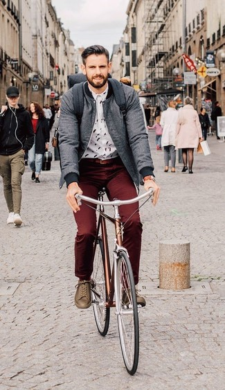 Choose a grey bomber jacket and burgundy chinos for a casual level of dress. If you don't want to go all out formal, make brown leather low top sneakers your footwear choice. It goes without saying that this one makes for a great, spring-appropriate getup.