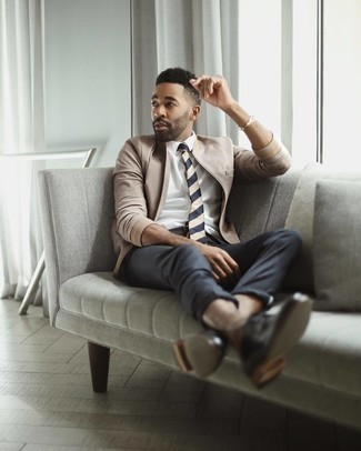 White Dress Shirt with Bomber Jacket Outfits For Men: Combining a bomber jacket with a white dress shirt is an on-point pick for an effortlessly neat getup. And if you need to immediately lift up your outfit with footwear, why not complement your ensemble with a pair of black leather derby shoes?