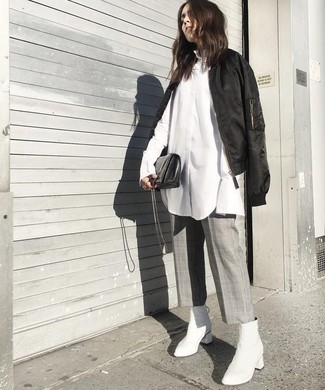 How to wear: black bomber jacket, white dress shirt, grey check culottes, white leather ankle boots
