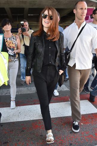 Julianne Moore wearing Black Leather Bomber Jacket, Black Dress Shirt, Black Dress Pants, White Leather Flat Sandals