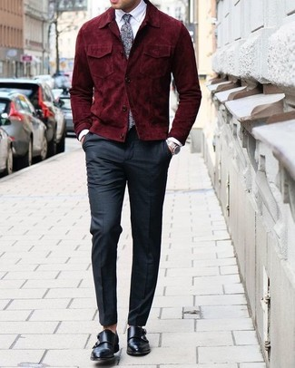 How to wear: burgundy suede bomber jacket, white dress shirt, black dress pants, black leather double monks