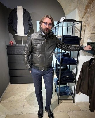 White Dress Shirt with Bomber Jacket Outfits For Men: For relaxed sophistication with a rugged take, consider pairing a bomber jacket with a white dress shirt. And if you want to instantly up your getup with one item, why not complete this look with a pair of black leather tassel loafers?