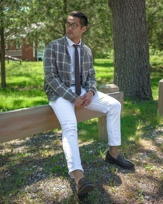 White Dress Shirt with Bomber Jacket Outfits For Men: Go for a straightforward yet refined choice by putting together a bomber jacket and a white dress shirt. Dark brown leather loafers are guaranteed to infuse a hint of polish into this ensemble.