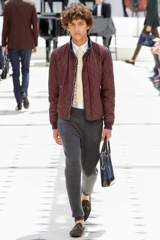 Sweatpants with Bomber Jacket Smart Casual Outfits For Men: A bomber jacket and sweatpants are an easy way to inject effortless cool into your current casual arsenal. Dark brown suede tassel loafers are an effortless way to inject an air of refinement into this ensemble.