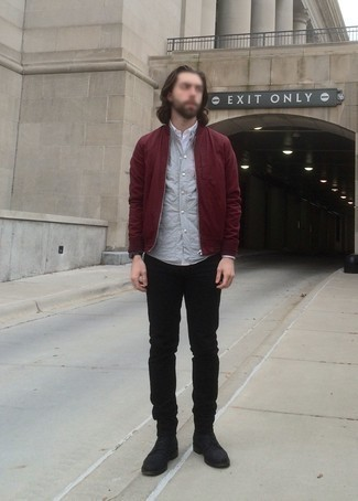 Burgundy Bomber Jacket Outfits For Men: A burgundy bomber jacket looks especially cool when worn with black jeans. And if you wish to immediately smarten up your outfit with shoes, complement this look with black suede casual boots.
