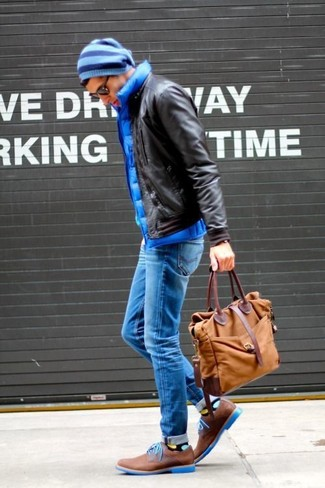 How to wear: dark brown leather bomber jacket, blue quilted gilet, blue skinny jeans, brown suede derby shoes