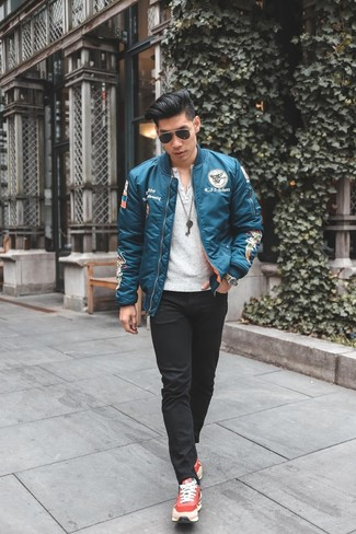 How to wear: aquamarine bomber jacket, white henley shirt, black skinny jeans, red athletic shoes