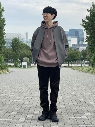 Brown Hoodie Outfits For Men: Rock a brown hoodie with black corduroy chinos to achieve an everyday ensemble that's full of charisma and personality. And if you want to easily play down this ensemble with shoes, introduce black athletic shoes to your outfit.