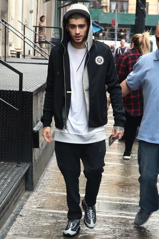 Zayn Malik Wearing Black Bomber Jacket Grey Hoodie White Crew Neck